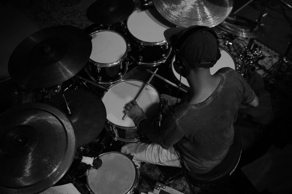 The musician at the rehearsal. Drummer